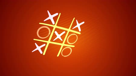 tık : Bright 3d rendering of a noughts and crosses game with a yellow grid, pink and white marks and an original end with a long victorious line in the orange background. It looks cheery