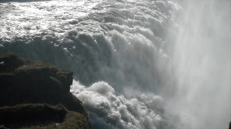 skogafoss : Giant waterfall in slow motion Stock Footage