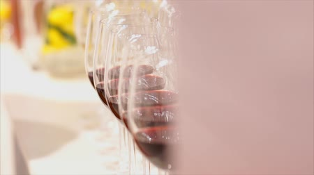 züccaciye : Beautiful glasses for wine from glass stand in even rows in a restaurant Stok Video