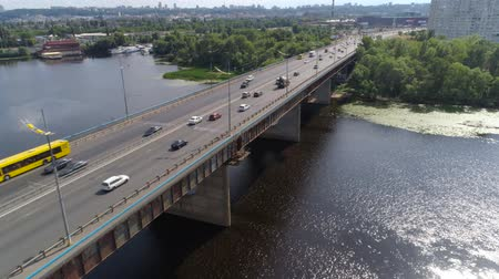 ev : Aerial view of bridge with transport on it Stock Footage