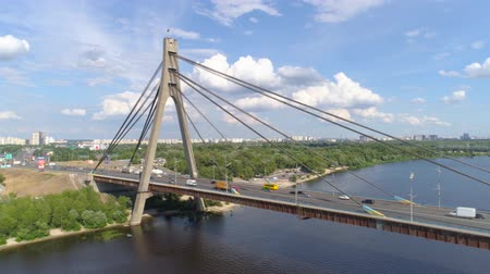 crossover : View Of Moskovskiy Bridge In Kyiv By Aerial Drone summer