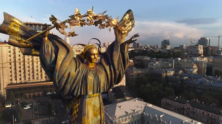 stalinist : City of Kyiv Independence Square, aerial. City landscape center of kiev against sunrise