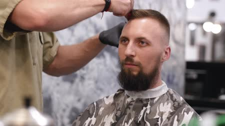 beard trimming : Portrait of a beautiful man with a beard on a haircut Stock Footage