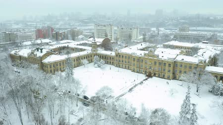 kiev : Aerial footage orbiting Igor Sikorsky Kyiv Polytechnic Institute Stock Footage