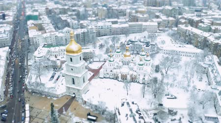 святой : Saint Sophia Cathedral in winter. Famous place in Kiev, Saint Sophia square. Snowy landscape