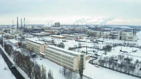 titanium : Fly over Sumykhimprom chemical industry plant in winter. Air pollution industry. Carcinogenic harm concept Stock Footage