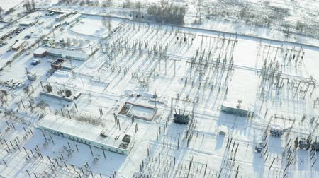 cabling : Aerial view of electric power station in winter