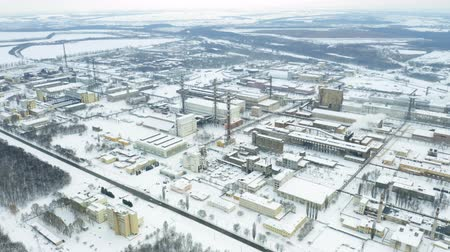 carcinogenic : Aerial orbit view of chemical industry plant in winter. Air pollution industry. Carcinogenic harm concept