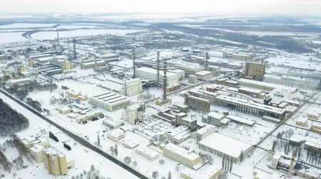 dioxid : Aerial view of chemical industry plant in winter. Air pollution industry. Carcinogenic harm concept