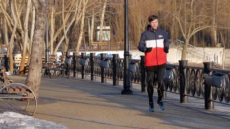 daleko : Kyiv, Ukraine - February 17, 2019: Man runs in the park at dawn and suddenly notices something far away