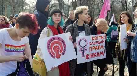gösterici : Kyiv, Ukraine - March, 2019: Feminists hold signs at womens march in Kiev
