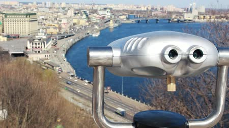 zvětšit : Coin binocular telescope on the observation deck in Kiev. Metropolis cityscape