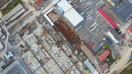 reinforced : Birds eye view of industry area. Warehouses and store buildings from above. Aerial footage