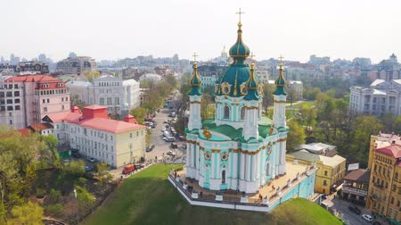 Aerial view of St. Andrews Church in Kiev. The famous Andrews Descent in the capital of Ukraine. Tourist route in Kiev 4k