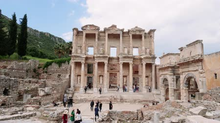 Time lapse of Celsus Library in Ephesus (Efes). Ancient Greek city Izmir, Turkey. Travel concept