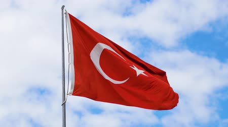 turk : Turkish flag waving on blue sky. Close up 4k
