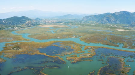 anatolia : Aerial top view of Dalyan, Turkey. The river that flows into the Aegean and the Mediterranean 4k