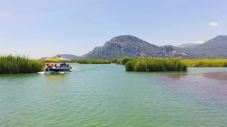 Tourist boat floats by. Excursion on the river Dalyan, Turkey. Sunny weather in summer. Steadicam 4k