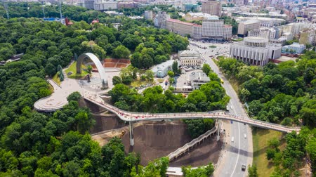 kiev : Aerial fly over pedestrian bridge in Kiev. Time lapse. Hyperlapse 4k