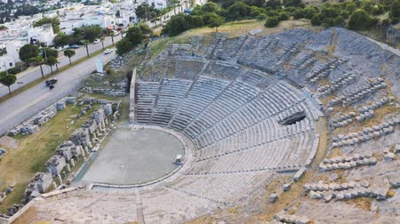 amphitheatre : Halicarnassus Ancient City. Amphitheater in the resort town of Bodrum. Aerial footage 4k Stock Footage