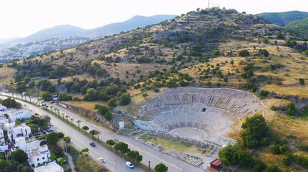 halicarnassus : Drone shot Halicarnassus Ancient City. Amphitheater in the resort town of Bodrum. Aerial footage. Overall shot 4k Stock Footage