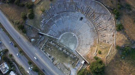 bodrum : Top view of Halicarnassus Ancient City. Amphitheater in the resort town of Bodrum. Aerial footage 4k Stock Footage