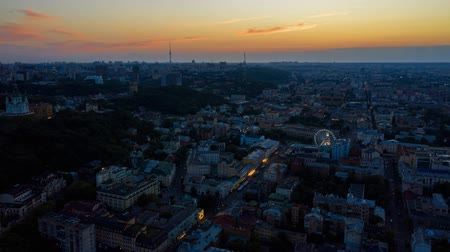 kiev : Time lapse fly over Podil district at the dawn. Hyperlapse. Aerial footage 4k