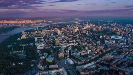 maidan : Kiev in the evening time lapse. View from above. Maidan Nezalezhnosti, historical center of Kyiv. Aerial footage 4k