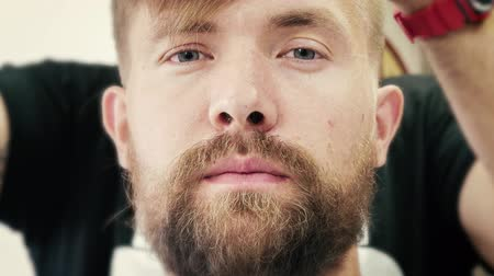shaver : Shaving process. Barber making haircut and beard cut of a young man. Grooming time lapse. Close up 4k