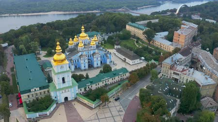 michael : Saint Michaels Golden-Domed Monastery in Kiev. View from above. Aerial footage 4k