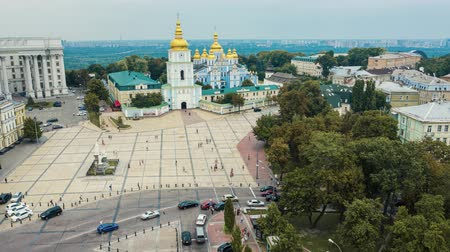 michael : Saint Michaels Golden-Domed Monastery in Kiev. Aerial time lapse. Hyperlapse 4k