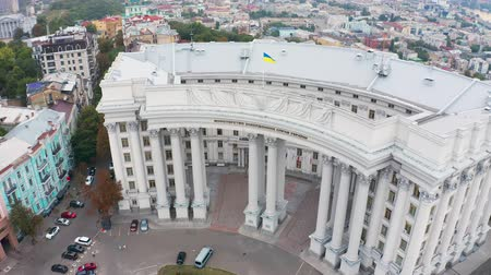 affairs : Aerial view of the Ministry of Foreign Affairs of Ukraine in Kiev. Podil district on the background 4k Stock Footage