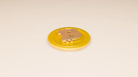 monety : 3D golden model of bitcoin letter falls on the floor Wideo