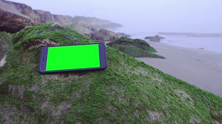 tecnológica : Smartphone with green screen on the sea pebbles