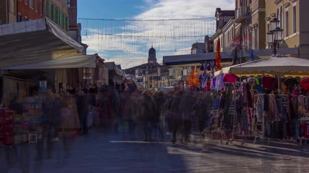 souvenirs : Timelapse at the market full of people outdoors Stock Footage