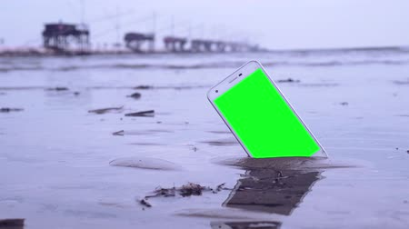 kap : Smartphone with green screen on the beach Stock mozgókép
