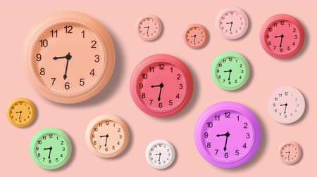 benzer : Many colorful clocks in timelapse Stok Video