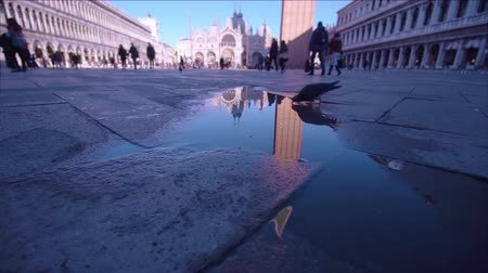 tükrözött : Reflected in a puddle of the San Marco tower in Venice