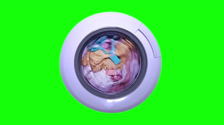 sem camisa : Washing machine runs on green screen