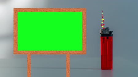 zapalovač : Frame with green screen next to a lighter from which colored hearts come out