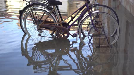 habitable : Bicycles parked in the city flooded by the tsunami