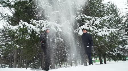 śnieżka : Young Couple Throwing Snow Up Wideo