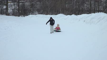 csőrendszer : Woman Pulling a Snow Tube with Little Girl