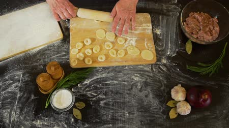 pelmeni : Woman Rolling Pieces of Dough with Rolling Pin Stock Footage