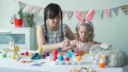 rabbit ears : Little Girl and Woman Coloring Easter Bunny