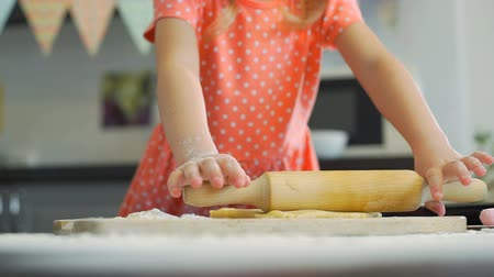 easter : Little Girl Preparing Dough for Cookies