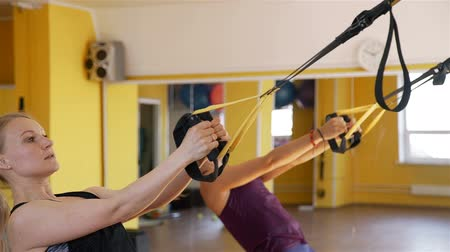bretelle : Women Exercising with Suspension Straps in a Gym