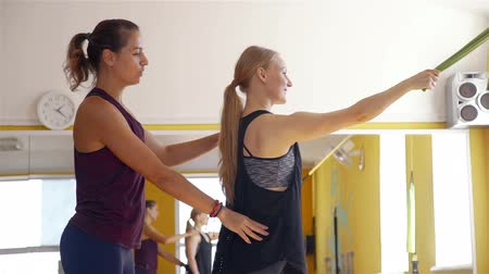 resistência : Women Exercising with Suspension bands at Gym