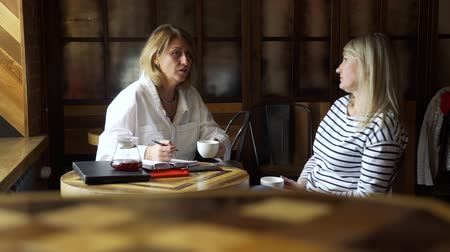 psychotherapist : Middle Age Woman Having Consultation with Psychotherapist in a Coffee House. They Discussing her Problems and Possible Decisions in Difficult Situations. Mental Health and Counseling Concept
