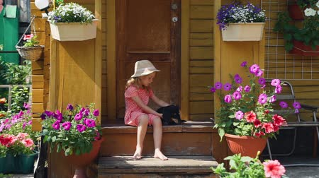 daksund : Little Girl Playing with her Dog in Summer Day while Sitting on the Porch of a Country House. Friendship of Child and Dachshund Dog. Summer Vacations and Lifestyle Concept